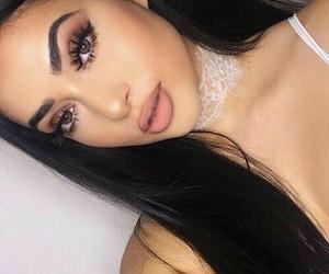 beautiful, brunette, and choker image