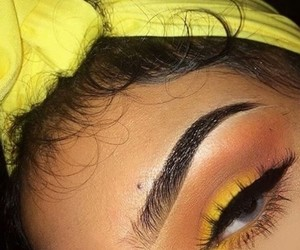 makeup, yellow, and eyebrows image