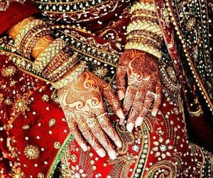 henna, gold, and india image