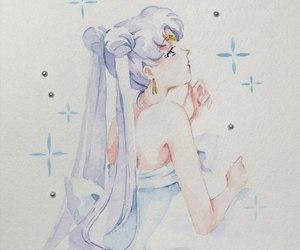 ash, queen serenity, and sailor moon fanart image