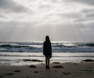 sea, girl, and alone image