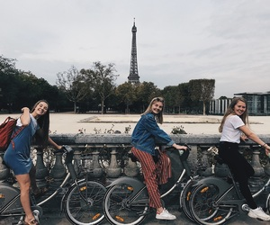 bicycle, city, and eiffel tower image