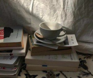 books, cup of tea, and tea image