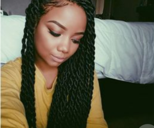 black hair, twists, and senegalese twists image