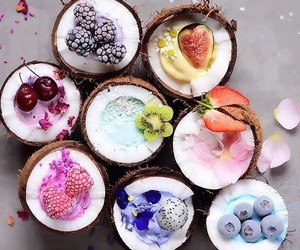 coconut, fruit, and healthy image