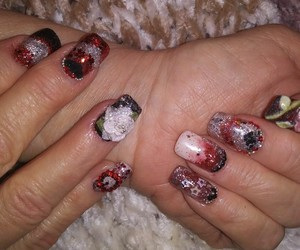 acrylic nails, 3d acrylic rose, and valentine's day nail art image