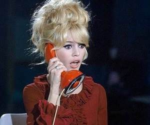 brigitte bardot, vintage, and telephone image