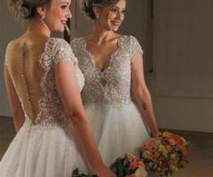 beading, wedding dress, and v-neck image
