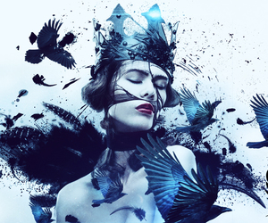 black, blue, and crown image