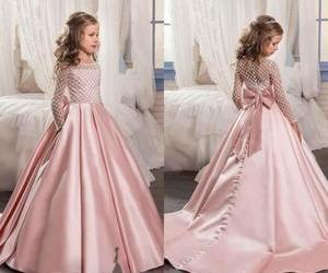 a-line, satin, and blush pink image