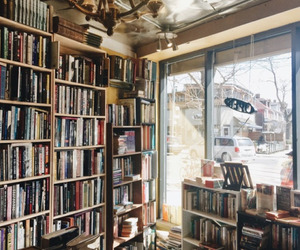 books, library, and reading nook image