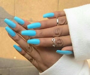 blue, forever, and long nails image
