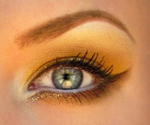 eyeliner, gold, and makeup image