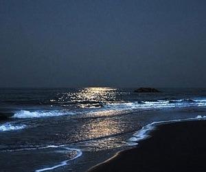 beach, night, and moon image