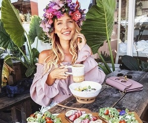 flowers, food, and girl image