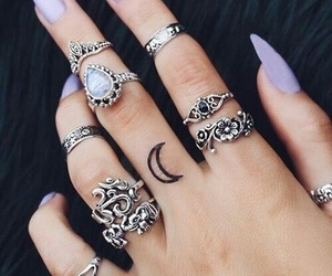 nails, rings, and tattoo image