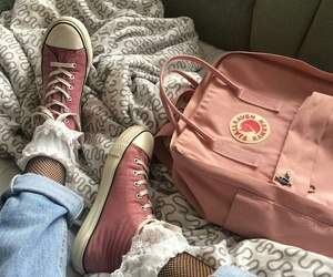 backpack, pink, and sneakers image