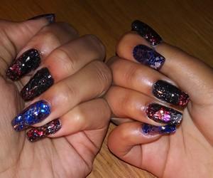 nail art, glitz and glamour nails, and colored acrylic nails image