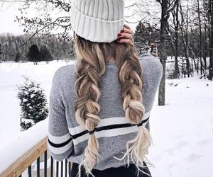 braid, hair, and snow image