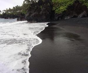 beach, black, and sand image