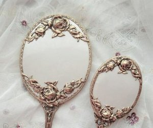 mirror, vintage, and gold image