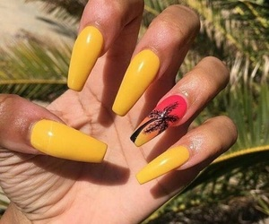 nails, yellow, and palm tree image