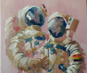 art, painting, and astronaut image