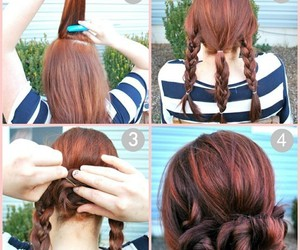 braids, bun, and hairstyle image