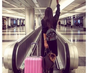 girl, airport, and travel image