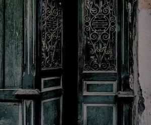 green, dark, and door image