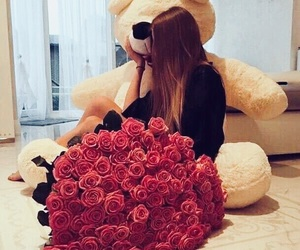 flowers, rose, and teddy bear image