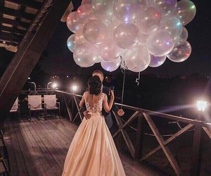 love, couple, and balloons image