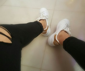 adidas, gold, and ripped jeans image