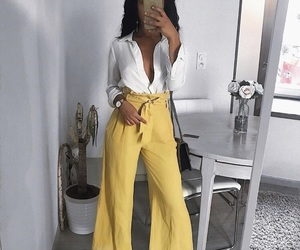 blouse, trendy, and yellow image