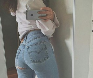 jeans, white, and girl image