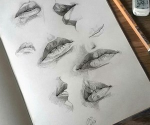 art, lips, and sketch image