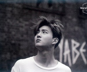 black & white, kim jun myeon, and suho image