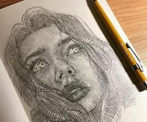 art, draw, and portrait image