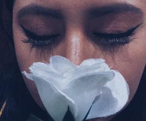 eyeliner, flower, and girl image