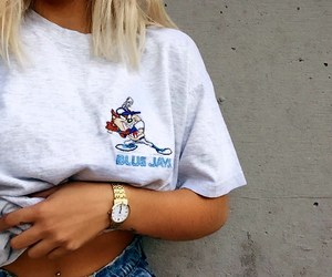 belly button piercing, blue jeans, and gold watches image