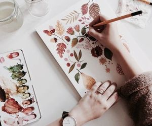 art, draw, and leaves image