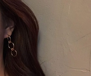 ear, ear ring, and hair image
