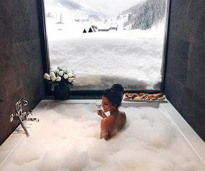 girl, bath, and snow image