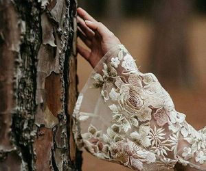 dress, forest, and lace image