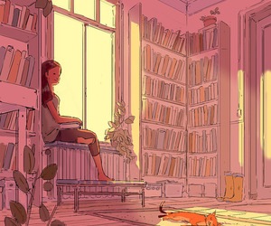 books, cat, and read image