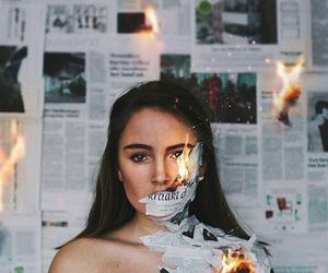 girl, fire, and photography image