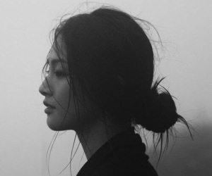 asian, hair, and black and white image
