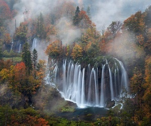 autumn, photography, and waterfall image