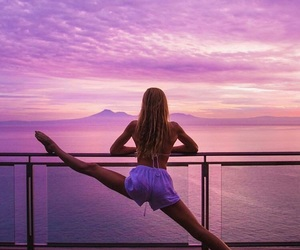 girl, summer, and yoga image