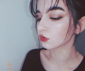 city lights night, hair black short, and cute fashion style makeup image